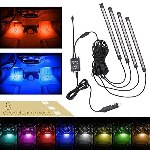 Xcellent Global Striscia luminosa con 48 LED a 8 colori per interni auto fosforescenti per atmosfera attivazione sonora impermeabili comandi a distanza AT019