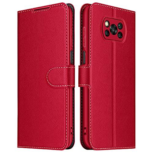 ELESNOW Hülle für Xiaomi Poco X3 NFC/Poco X3 Pro, Premium Leder Klappbar Wallet Schutzhülle Tasche Handyhülle mit [Magnetisch, Kartenfach, Standfunktion] für Xiaomi Poco X3 NFC/Poco X3 Pro (Rot)
