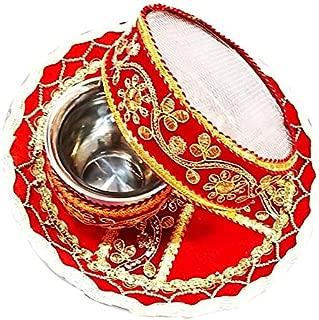 Kalptaru Pearl & Stones Studded Karwachauth/Karvachauth Indian Traditional Decorative Pooja thali Beautiful Ethnic Gift/Kankavati/Indian Handicraft/karwachauth channi/Pooja Thali Set/Puja (29 CM)