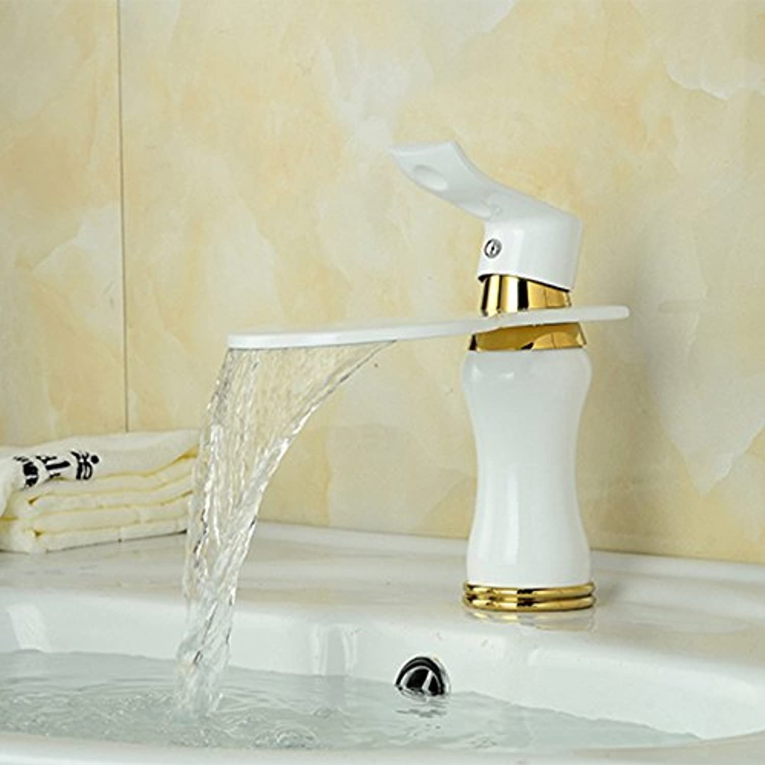 LaLF White Scalloped Waterfall Faucet All Copper Painted Bathroom Basin Faucet