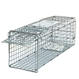 Smartxchoices 24'' Long Live Animal Trap Steel Cage Catch and Release One Door Humane Rodent Cage Trap for Rabbits/Stray Cats/Squirrel/Skunk/Mink/Opossum Outdoor Small Animals Professional Style