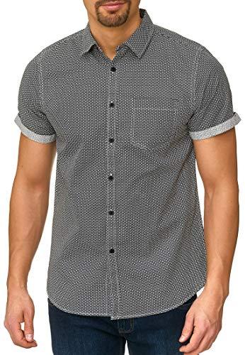 Indicode Herren Christchurch Hemd mit Brust-Tasche aus 100{95883c8b2672ea585a6bad70b68f29c557604b81816db97de971d47c9c7070a6} Baumwolle | Regular Fit Kurzarm Herrenhemd Ton-in-Ton Muster Allover-Print Markenhemd kurzärmlig Freizeithemd für Männer Black S