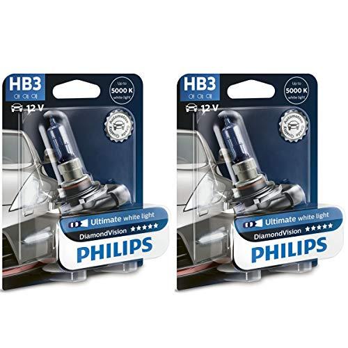 Philips Lámparas HID halógenas Diamond Vision 9005 HB3, paquete de 2 unidades.
