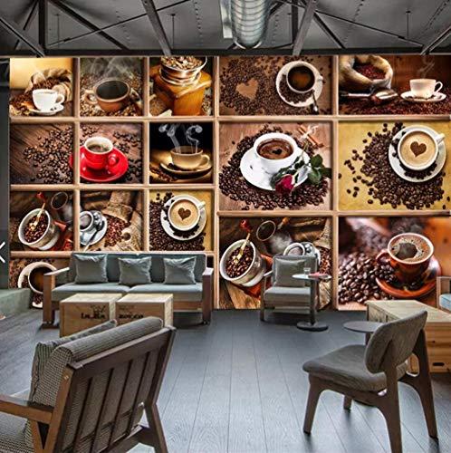 Fotobehang op maat 3D niet-geweven stof Milieuvriendelijk en duurzaam behang muursticker-Alle soorten geurende koffie 450(w)x300(H)cm