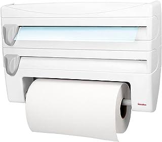 Metaltex 254410 Distributeur d'essuie-tout Roll-n-Roll 4-en-1, blanc, 39 x 10 x 25 cm.