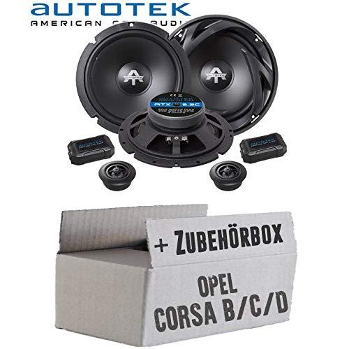 Opel Corsa B/C/D-Altavoces Cajas autotek ATX de 6.2C | Sistema de Altavoces de 2Vías 16cm 16,5cm Auto Juego de Instalación de Accesorio-Instalación