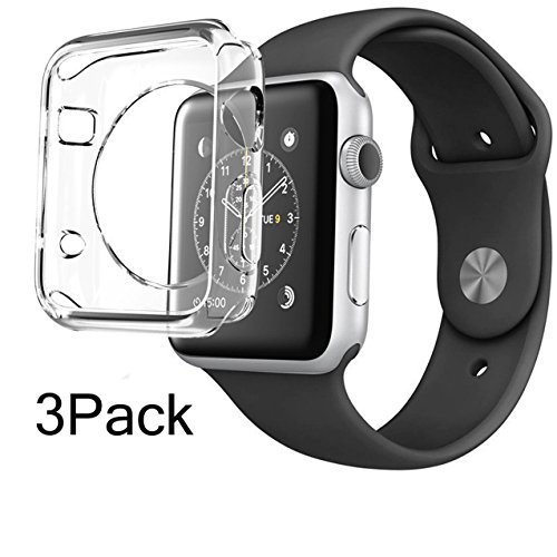 For Apple Watch Case 38mm CaseHQ Hard Soft TPU Transparent Full Body Screen Protector 0.3mm Thin Case Apple Watch Cover For Apple Watch / Watch Sport / Watch 2015(38mm) Crystal Clear (38mm 3Pack)