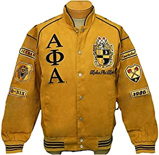 New! Mens Alpha Phi Alpha Gold & Black Fraternity,Inc Patch Racing Style Jacket - X-Large