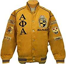 New! Mens Alpha Phi Alpha Gold & Black Fraternity,Inc Patch Racing Style Jacket - 5XL