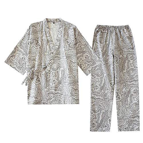 Conjunto de Pijamas de Estilo japonés para Hombres de Primavera y Verano, Ropa de Dormir de Estilo Kimono de algodón de Gasa para Hombres, Ropa de casa Fina y Holgada, Ropa Informal Gris XL