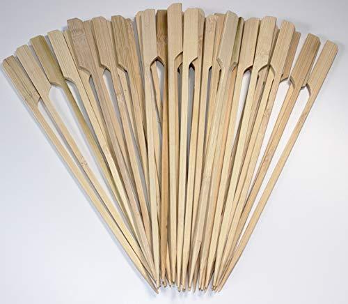 BBQ-Bambusspieße 40 Spieße Holzspieße 18cm Naturholzspieße aus Bambus für Grillgut Pfanne Ofen Fingerfood Antipasti stabile Ausführung mit breiterem Holzende zum greifen