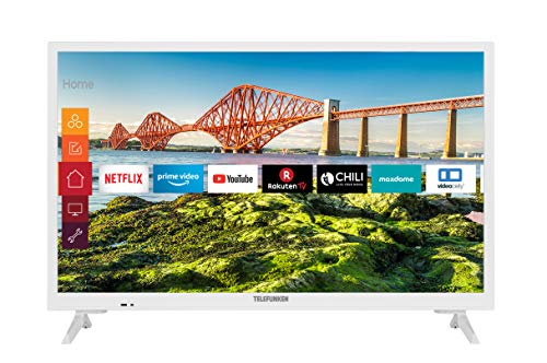 Telefunken XH24J501V-W 24 Zoll Fernseher (Smart TV inkl. Prime Video / Netflix / YouTube, HD ready, 12 Volt, Works with Alexa, Triple-Tuner) [Modelljahr 2021]