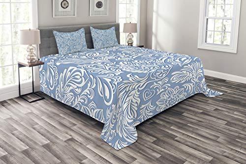 ABAKUHAUS Phönix Tagesdecke Set, Barock Klassik Rokoko, Set mit Kissenbezügen Sommerdecke, für Doppelbetten 220 x 220 cm, Blass Azur blau Weiß