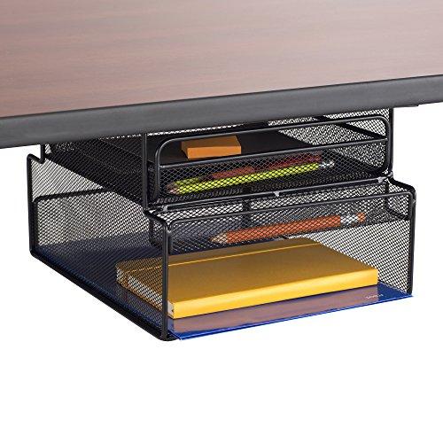 Safco Products 3244BL Onyx Mounted UnderDesk Hanging Storage Convenient Organization Ideal for SitStand Workstations Blackquot1025quotquotw x 1237quotquotd x 725quotquothquot
