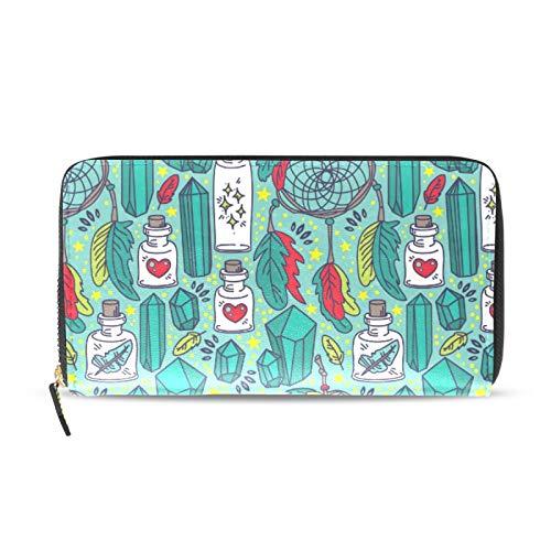 Ahomy Damen PU Leder Geldbörse Magische Traumfänger und Glasflaschen Tribal Stil Lange Clutch Tasche mit Kreditkartenfächern