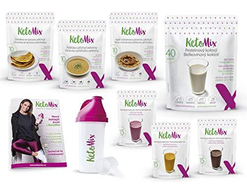Ketomix Keto Diät 2 Wochen Pack | Ein komplettes Set - Suppe, Omelette, Brei, Shaker, Protein Pulver + 3 Geschmack Pulver | Schnell abnehmen