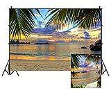 Leowefowa Vinyl 9X6FT Seaside Sand Beach Backdrop Tropical Coconut Tree Sunset Scene Photography Background Kids Adults Summer Holiday Tourism Wedding Wallpaper Photo Studio Prop