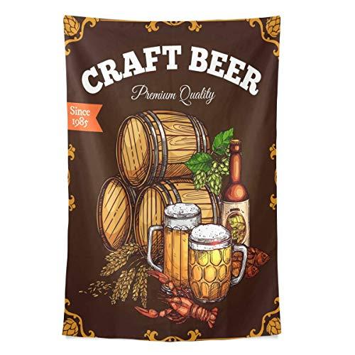 N\A Vintage Bier Tapisserie Retro Oktoberfest Tapisserie Wandbehang Bierkrüge Weizen Lupulus Wandteppiche für Schlafzimmer Wohnzimmer Home Wohnheim Dekor Wandkunst Braun