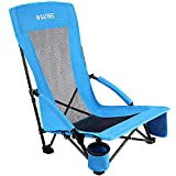 Folding Camping Beach Chair, Portable Outdoor Backpack Camping Chair, High Back Rest Patio Chairs with Carry Bag Heavy Duty 300lbs (Blue)