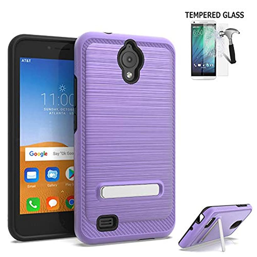 Phone Case for AT&T Prepaid Axia/Cricket Prepaid Vision Case/Alcatel Axia Dual-Layered Cover (Brush Stand Purple/Tempered Glass)