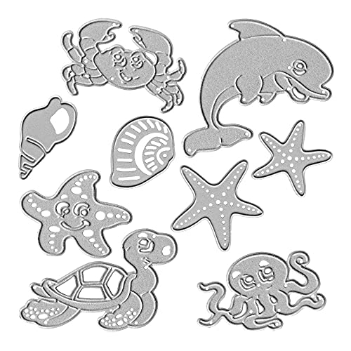 Metal Sea Animal Dolphin Starfish Cutting Dies, Shell Turtle Octopus Die Cuts for Card Making Stencil Embossing Tool Scrapbooking DIY Etched Craft Dies