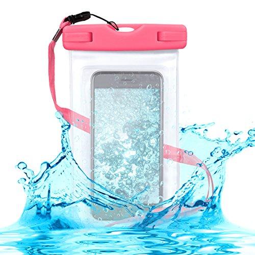 kwmobile Custodia Impermeabile Borsa da Spiaggia per Smartphone - Beach Bag per Cellulare - Protezione Acqua Sabbia - Astuccio 16,5 x 9,5 cm - Fucsia/Trasparente