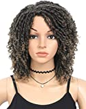 ATRAENTE Wigs for Black Women Clearance,6' Afro Wigs for Black Women Faux Locs Wig Dread Wig,Light Brown Wig Short Curly Wigs for Women,Synthetic Wigs for Women Afro Wig(1B/27)