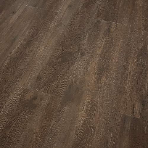 TRECOR Vinyl-/LVT Rigid 5.0 Klick Vinyl-Designboden Massivdiele 5 mm stark mit 0,5 mm Nutzschicht - WASSERFEST - Sie kaufen 1 Musterstück mit ca. 35 cm Länge - (Vinylboden Musterstück, Räuchereiche)