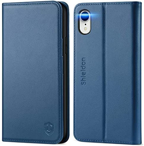 SHIELDON iPhone XR Case Genuine Leather iPhone XR Wallet Case Book Design with Flip Cover and product image