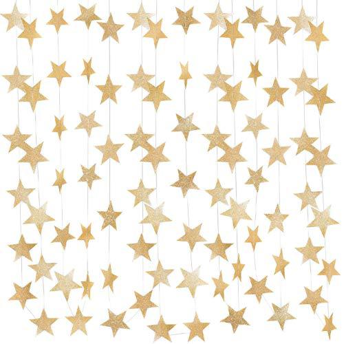 Gobesty goud reflecterende ster papier slinger, 52 voeten goud sprankelende ster Bunting Banner opknoping decoratie voor bruiloft verjaardag partij vakantie decoraties