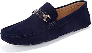 QinMei Zhou Men's Confortable Driving Loafer Genuine Leather Suede Vamp Slip on Moccasins Outdoor Leisure Shoes (Color : Blue, Size : 8 UK)