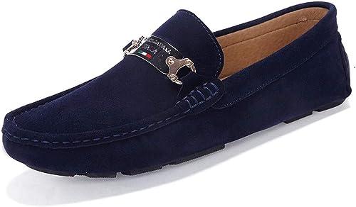 CHENDX Chaussures, Mode Mode Homme Cuir véritable Mocassins de Conduite Confortables en Daim Vamp Slip sur Les Mocassins Chaussures de Loisirs en Plein air (Couleur   Bleu, Taille   44 EU)  Nouvelle liste