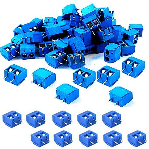 SamIdea 60 Stück 2P 5,08 mm Abstand, Leiterplattenmontage, Schraubklemmenblöcke, Steckdosenleisten für Arduino, blau, 300 V/16 A