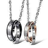 Kim Johanson Pärchen Halsketten 'Endless Love' für verliebte aus Edelstahl mit doppelten Ringen und Gravur inkl. Schmuckbeutel