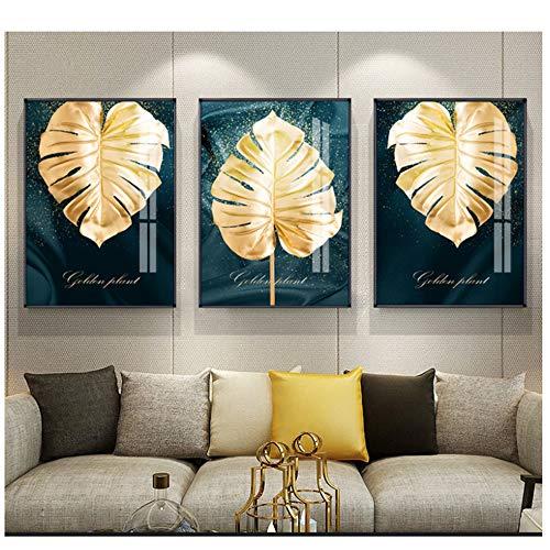 LIPENGYU Druck auf Leinwand Schwarz und Gold Ananas Monstera Kaktus Pflanzenmalerei Blatt Poster Druck Wandkunst Modernes Dekor Leinwandmalerei 60 x 90 cm x 3 No Frame