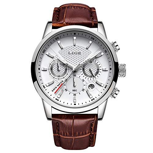 LIGE Montres Hommes Mode Étanch Acier Inoxydable Analogique Quartz Sport Chronographe Blanc Cadran Classique Cuir Bracelet Montres
