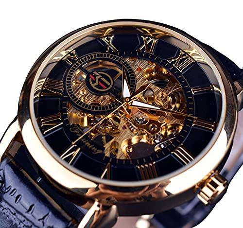 Excellent Reloj para Hombre Mecánico de Lujo Acero Inoxidable Skeleton Automático Mecánico Mecánico Reloj Muñeca Reloj de Cuero Casual,A01