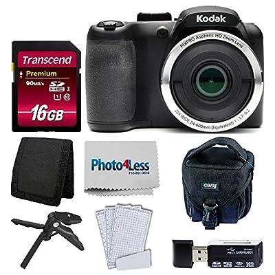 Kodak PIXPRO AZ252 Astro Zoom 16MP Digital Camera + Point & Shoot Camera Case + Transcend 16GB SDHC Class10 UHS-I Card 400X Memory Card + USB Card Reader + Table Tripod + Accessories by Kodak