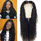 Pelucas delanteras de encaje 13x4 Pelucas de cabello humano para mujeres negras Peluca brasileña frontal de encaje de onda profunda con cabello de bebé color natural (12 pulgadas, 150% de densidad)