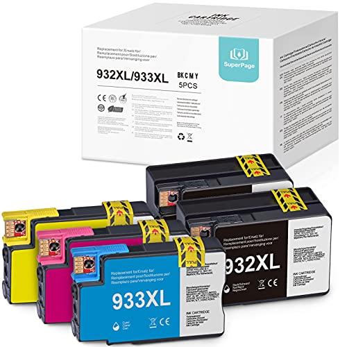 Superpage Merotoner - Cartuchos de tinta compatibles con HP 933XL 932XL (2 cartuchos de tinta negro, 1 cian, 1 magenta y 1 amarillo)