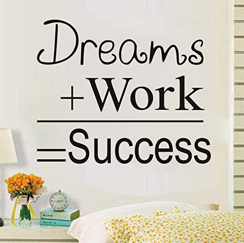 Dream Job Success Cita inspirada Etiqueta de la pared Cartel Retro Carta Arte de la pared Apliques Oficina Decoración para el hogar 52x43cm