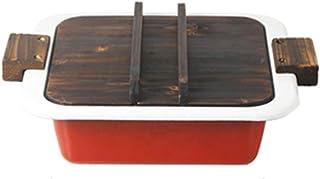 Olla Roja Cubierta De Madera De Esmalte Sopa Engrosamiento Binaural Plana Antiadherente Cocina Universal Regalo (Color : Red, Size : 35.2 * 10.5cm)