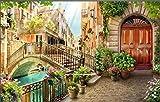 Mural 3D Efecto Cartel Gigante Hermosa Venecia Imagen Biblioteca Fotográfica Sala Restaurante Restaurante Centro Comercial Decoración Papel Tapiz-350Cmx256Cm(Lxa)