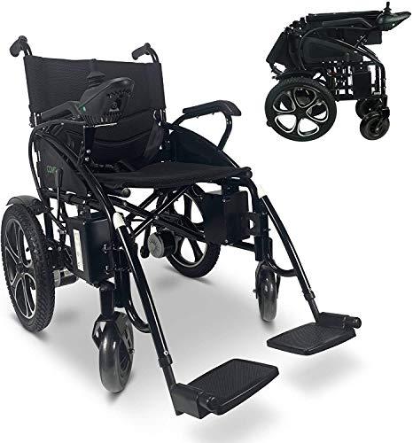 2021 Best Electric Wheelchairs Silla de Ruedas Electric para Adult Transport Friendly Lightweight Folding Electric Wheelchair for Adults (Black-Black)