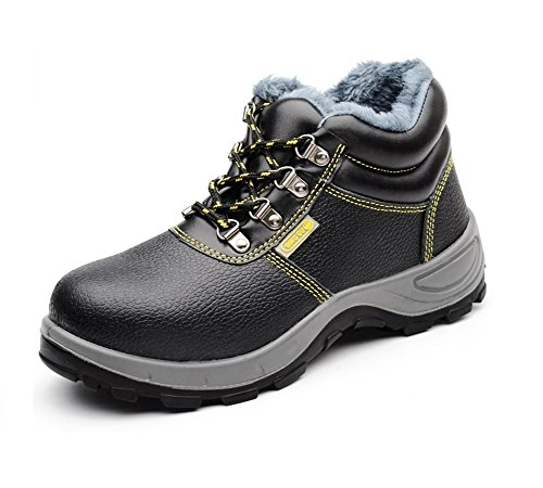Arbeitsschuhe mit Stahlkappe wasserdicht Herren Sicherheitsstiefel mit Stahlkappe Stahlkappen Schuhe Work Shoes Schwarz