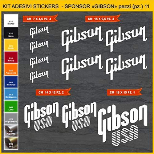 Kit Stickers Gibson Gitarre -11 Pezzi- Wählen Sie Farbe Code 1082 Weiß (010 Bianco)
