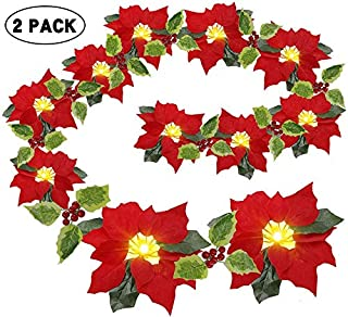 Whonline 2 Pack 13.6ft Christmas Poinsettia Garland 20 LED Velvet Artificial Poinsettia Lights Decorations with Red Berries and Holly Leaves Battery Operated for Christmas Holiday Indoor and Outdoor