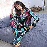 Pyjama de Printemps pour Femmes, imprimé de Soie Douce Robe de beauté Douce Pyjama...