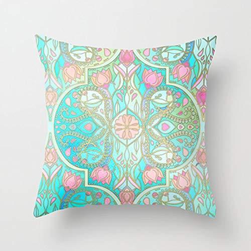 PPMP Funda de Almohada con diseño Tribal, Funda de cojín con Mandala Bohemia marroquí, Funda de cojín Decorativa para sofá del hogar, Funda de Almohada A2 45x45cm, 1pc