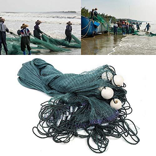 DYRABREST Green Fishing Gill Nets Hand Made Beach Seine Drag Nets Fishing Equipment Trammel Net with PVC Foam Float Bobbers and Lead Sinkers (2x10M(6.5x33FT))